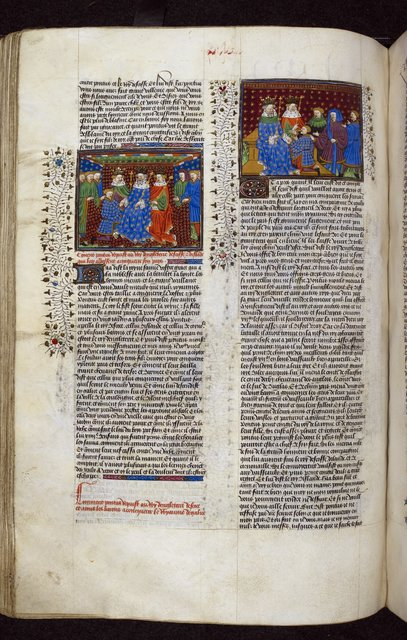 Kings of England, Scotland, and Ireland receiving Ponthus from BL Royal 15 E VI, f. 219v