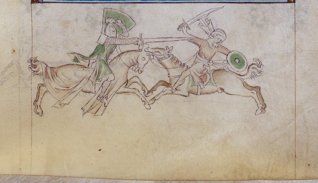 Knight and Saracen from BL Royal 2 B VII, f. 150