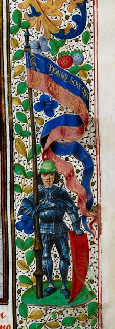Knight with banner from BL Royal 15 E IV, f. 14