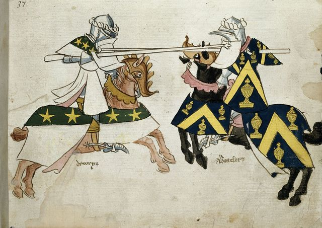 Knights jousting from BL Harley 4205, f. 24