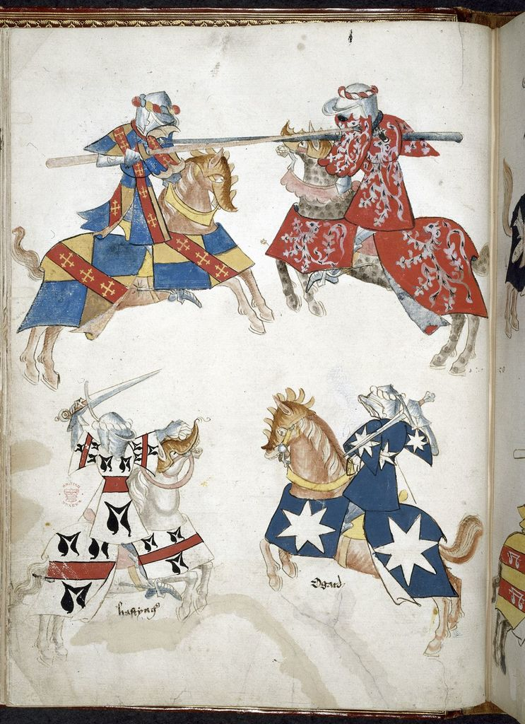 Knights jousting from BL Harley 4205, f. 36v