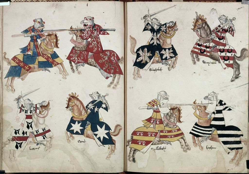 Knights jousting from BL Harley 4205, ff. 36v-37