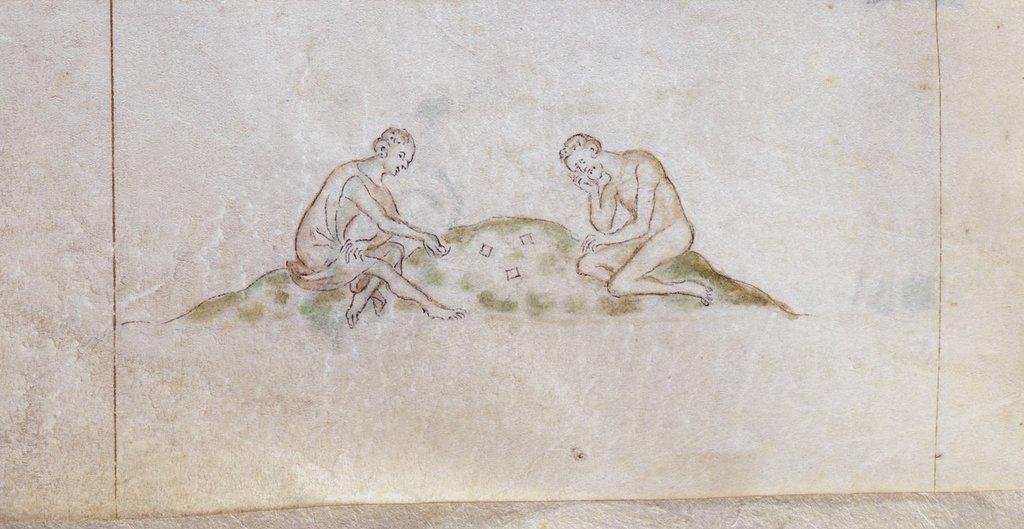 Knucklebones game from BL Royal 2 B VII, f. 167v