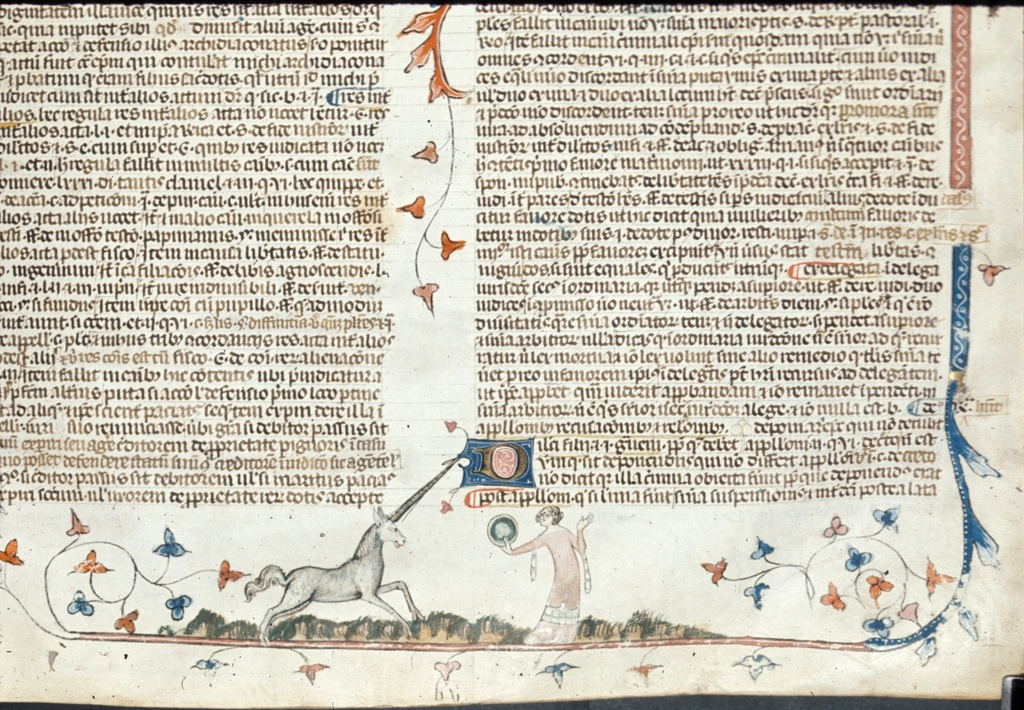 Lady and unicorn from BL Royal 10 E IV, f. 153