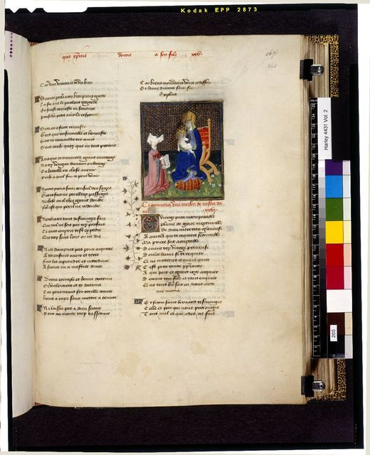 Lady praying before the Virgin from BL Harley 4431, f. 265
