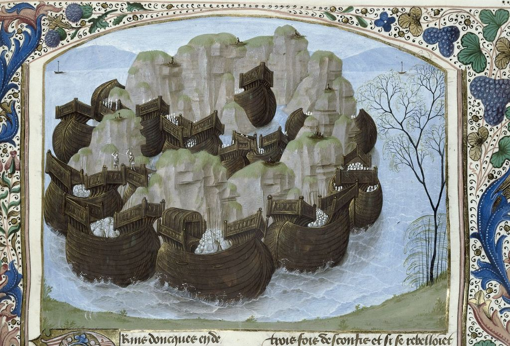 Lake, an island, and the ships of the Scots from BL Royal 15 E IV, f. 146