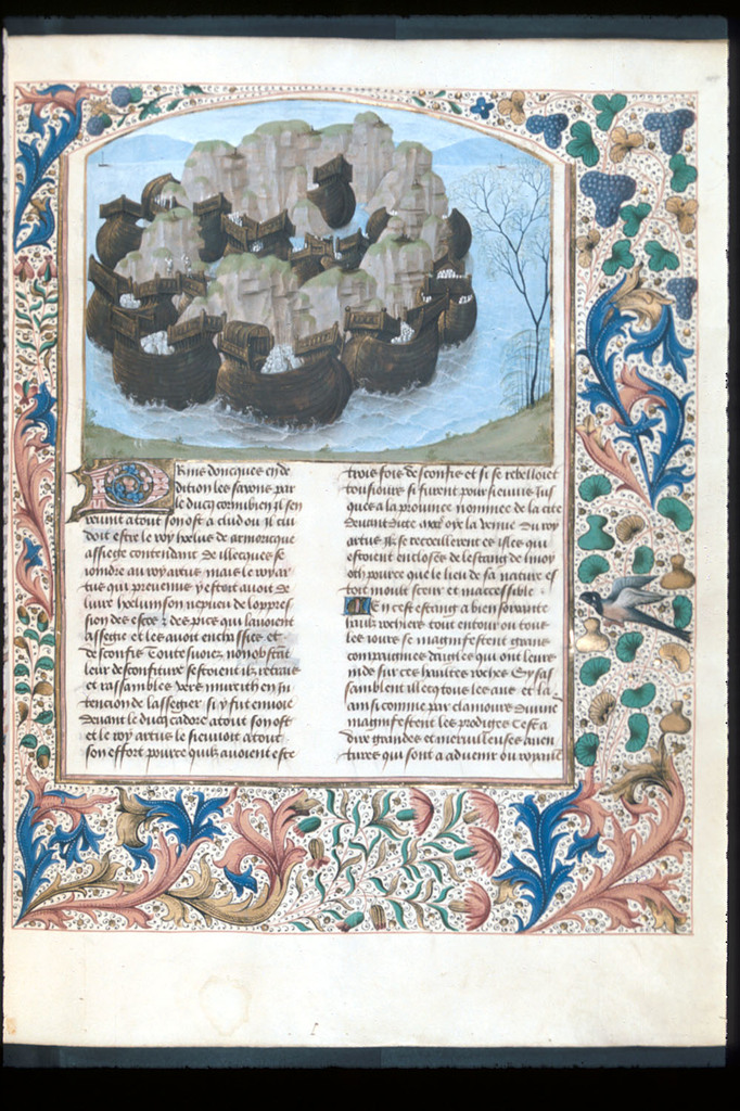Lake, island, and ships of the Scots from BL Royal 15 E IV, f. 146