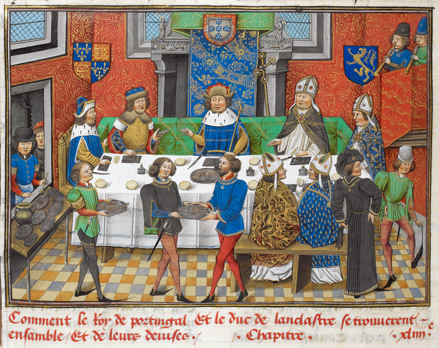 Lancaster dining with the king of Portugal from BL Royal 14 E IV, f. 244v