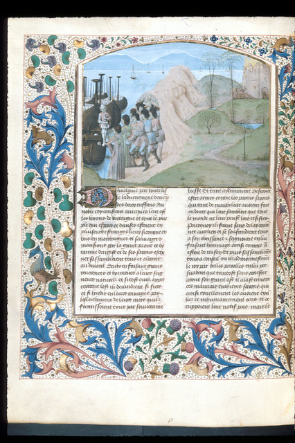 Landing of Aurelian and Uther from BL Royal 15 E IV, f. 118v
