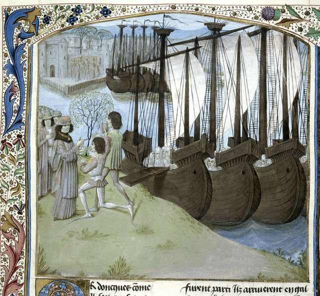Landing of Cadwallader's sons from BL Royal 15 E IV, f. 192