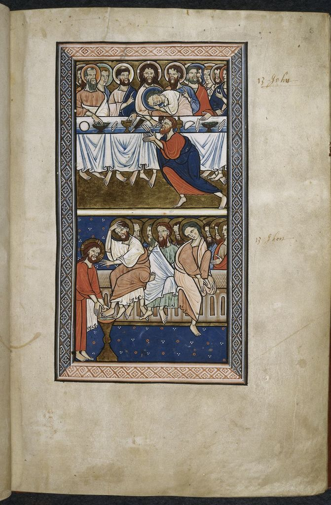 Last Supper and Christ washing Peter's feet from BL Royal 1 D X, f. 5