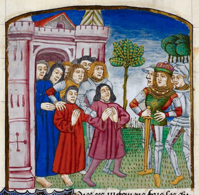 Le Jouvencel reviewing his prisoners. from BL Royal 16 F I, f. 173v