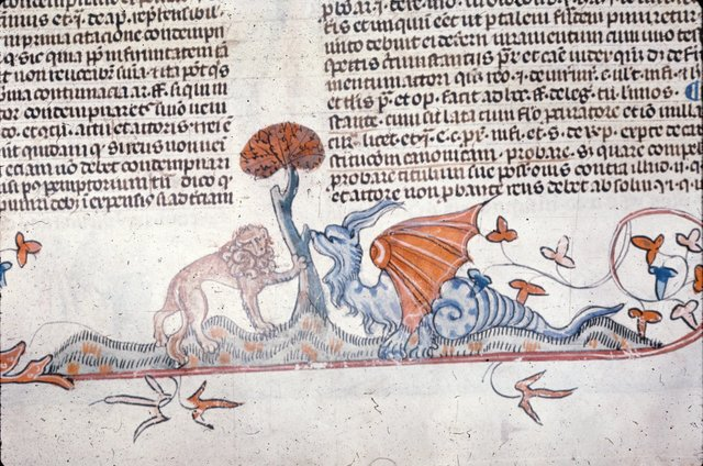 Lion and dragon from BL Royal 10 E IV, f. 80v