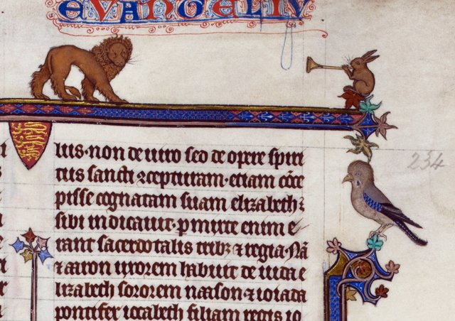 Lion and rabbit from BL Royal 3 D VI, f. 234