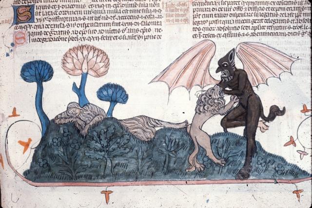 Lion fighting devil from BL Royal 10 E IV, f. 281