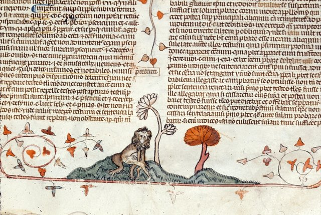 Lion suckling infant from BL Royal 10 E IV, f. 121