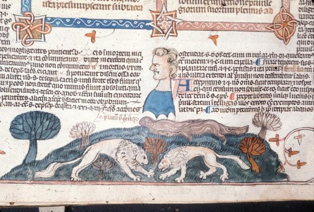 Lions near Mary of Egypt from BL Royal 10 E IV, f. 287v