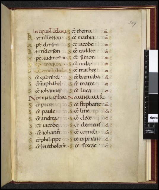 Litany from BL Harley 2904, f. 209
