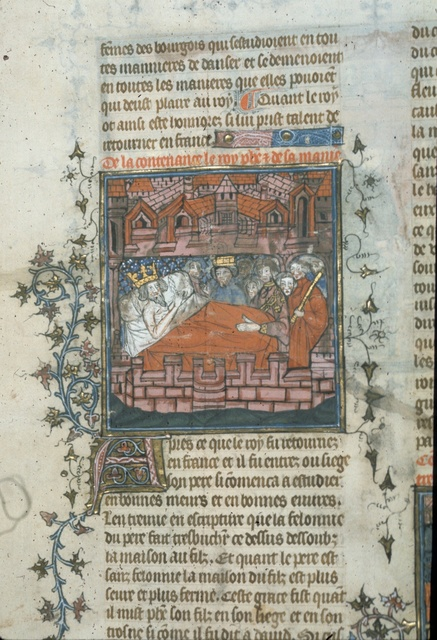 Louis' death-bed from BL Royal 20 C VII, f. 8v