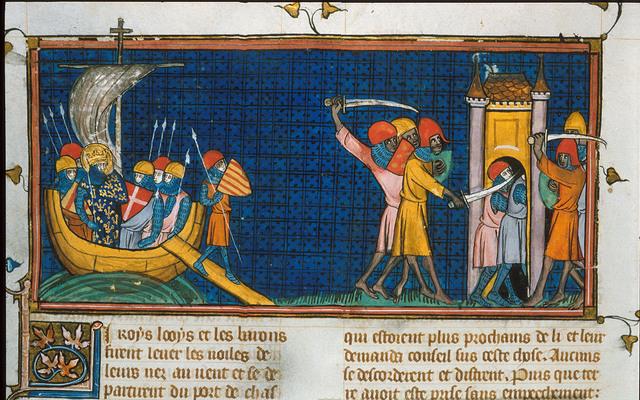 Louis IX at Tunis from BL Royal 16 G VI, f. 440v
