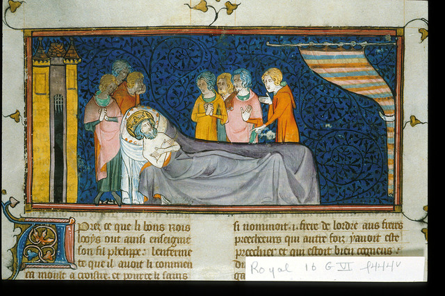 Louis IX on his death-bed from BL Royal 16 G VI, f. 444v