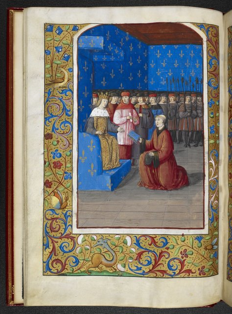 Louis XII receiving the book from BL Royal 19 C VI, f. 9v