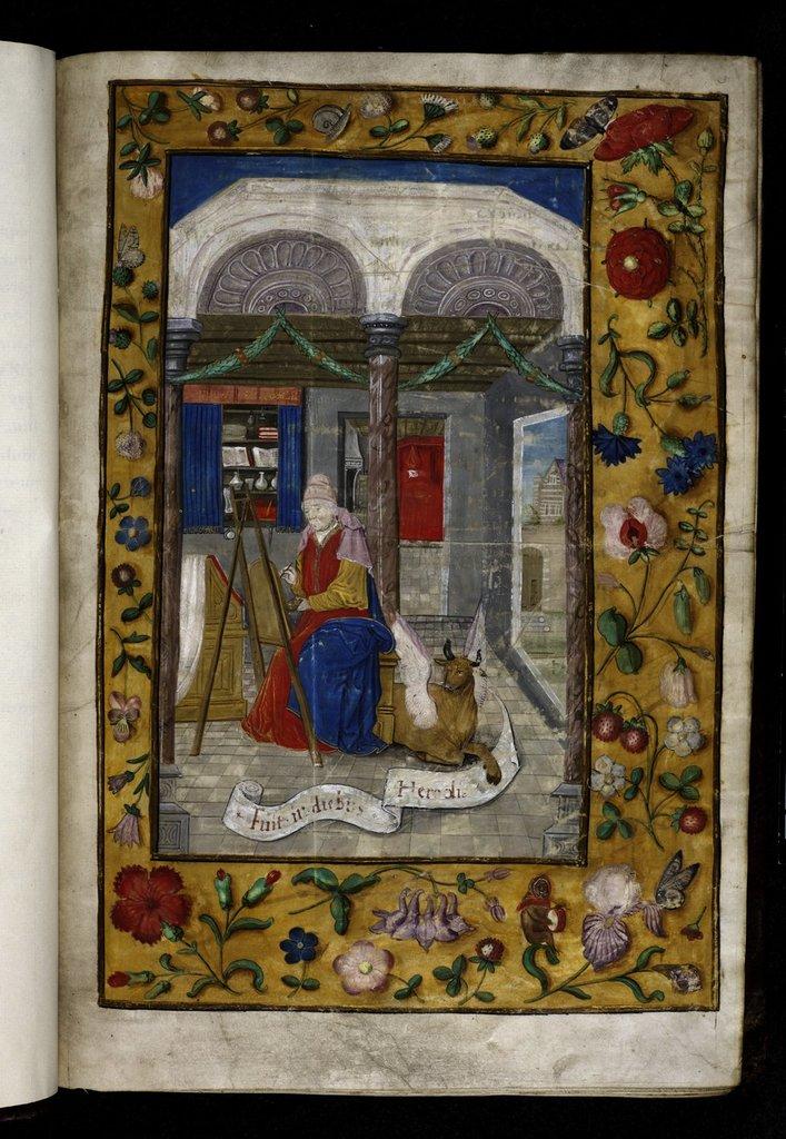 Luke painting the Virgin from BL Royal 1 E V, f. 3