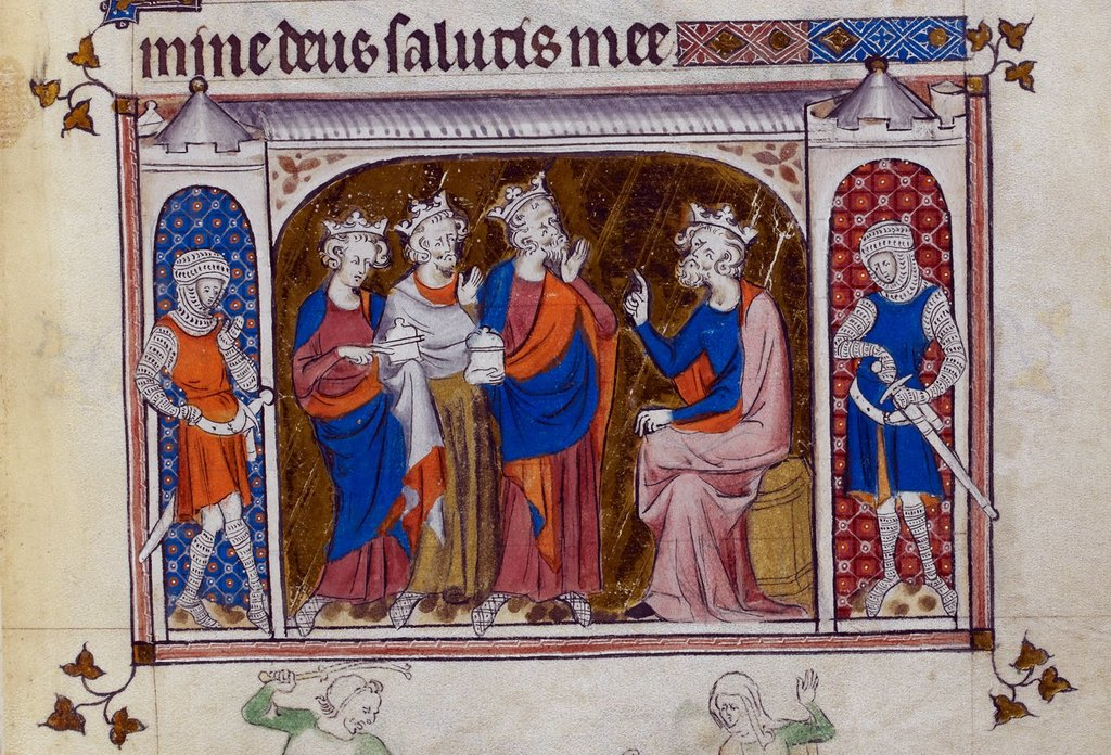 Magi before Herod from BL Royal 2 B VII, f. 131