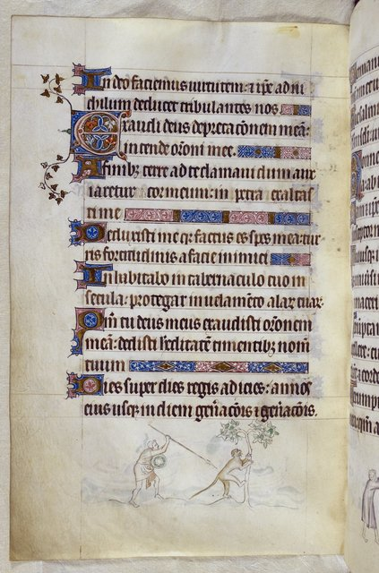 Man and ape from BL Royal 2 B VII, f. 159v