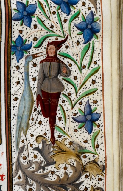 Man and stork from BL Royal 15 D IV, f. 112