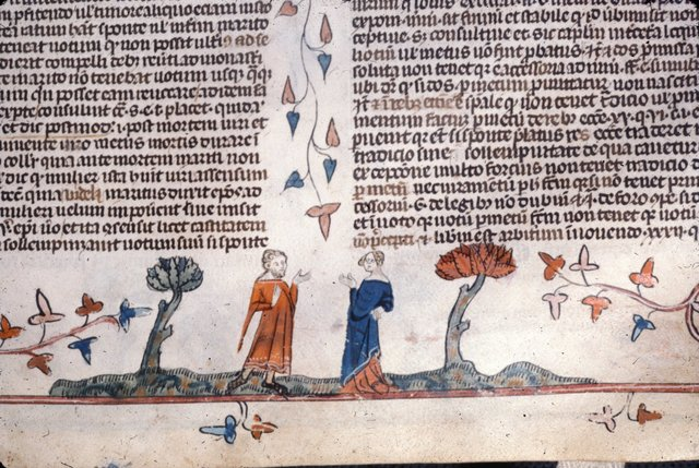 Man and woman conversing from BL Royal 10 E IV, f. 84