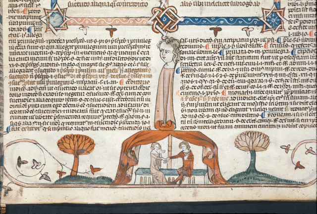 Man and woman in tent from BL Royal 10 E IV, f. 311