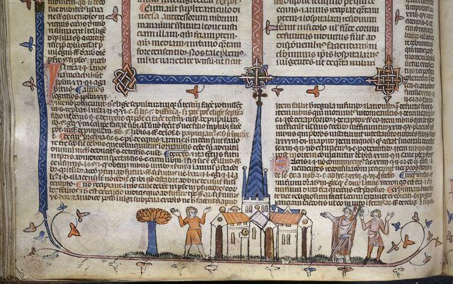 Man approaching church from BL Royal 10 E IV, f. 197v