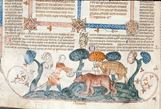 Man attacking a boar and a bear from BL Royal 10 E IV, f. 298v