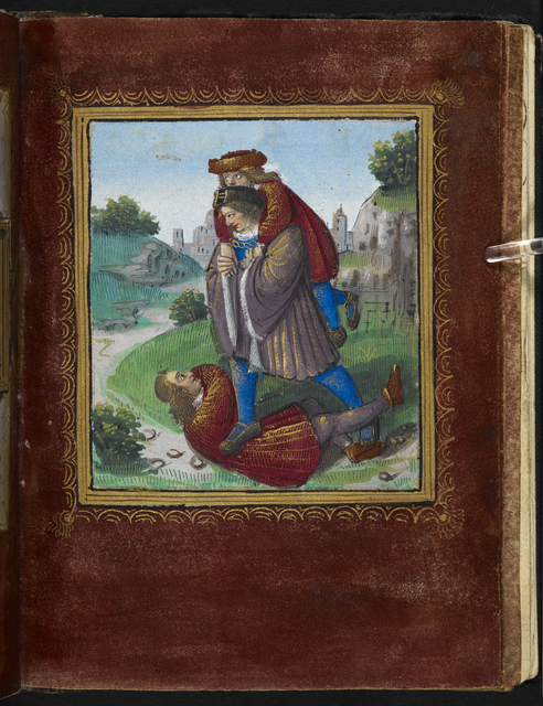 Man carrying another from BL Stowe 955, f. 12