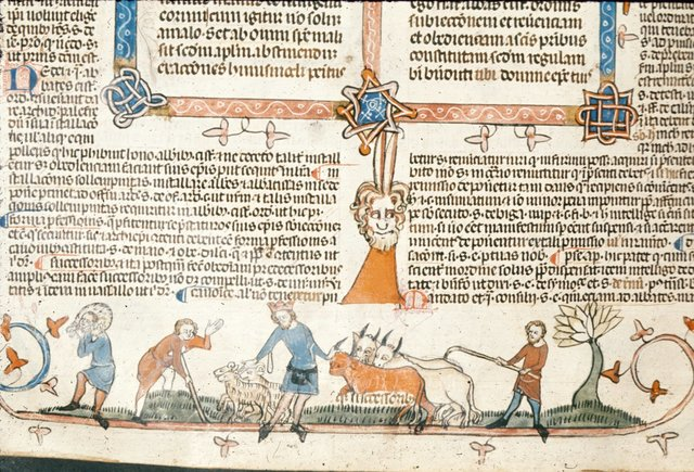 Man driving oxen from BL Royal 10 E IV, f. 262v