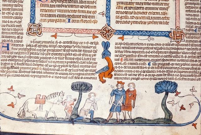 Man kneeling before a king from BL Royal 10 E IV, f. 293v