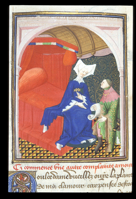 Man kneeling before a woman from BL Harley 4431, f. 56v
