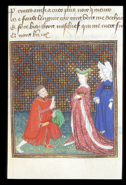 Man kneeling before two women from BL Harley 4431, f. 48