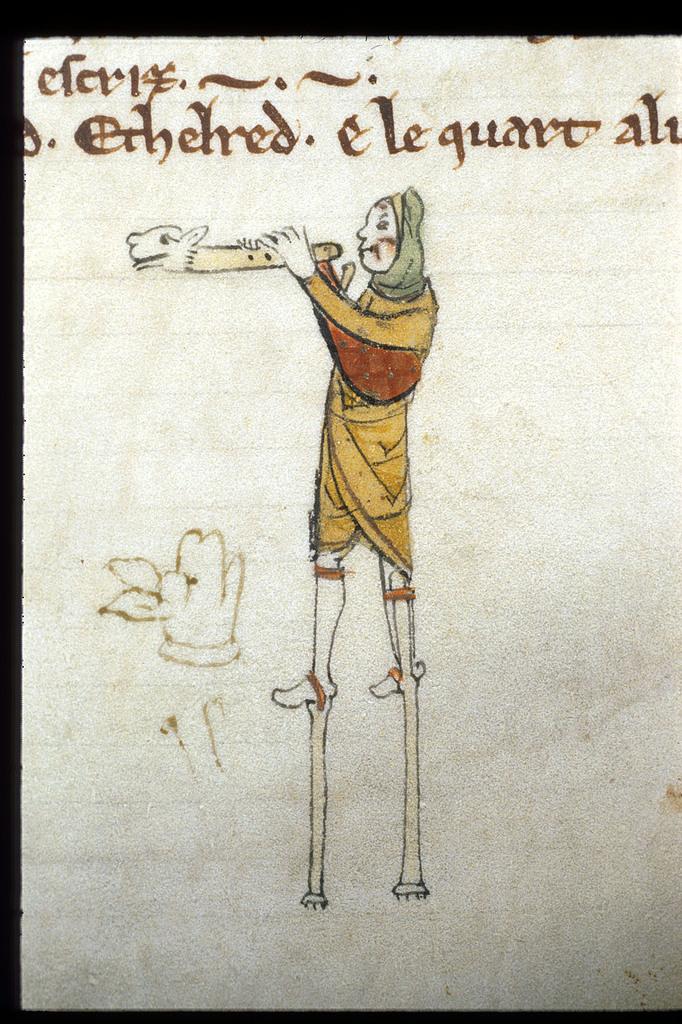 Man on stilts from BL Royal 14 B V, Membrane 1