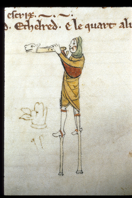 Man on stilts from BL Royal 14 B V, Membrane 1