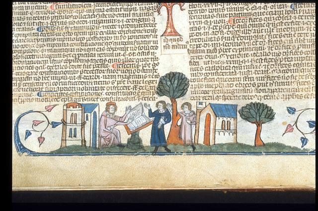 Man reading a book from BL Royal 10 E IV, f. 4v