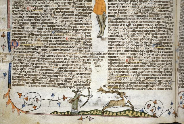 Man shooting at a stag from BL Royal 10 E IV, f. 159v
