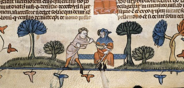 Man stealing food from BL Royal 10 E IV, f. 217v
