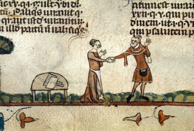Man taking a woman by the hand from BL Royal 10 E IV, f. 139v