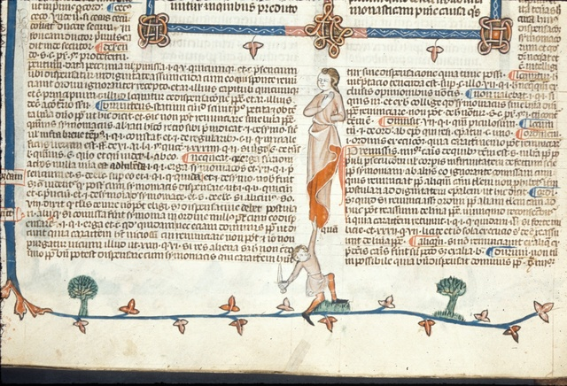 Man with a knife from BL Royal 10 E IV, f. 44v