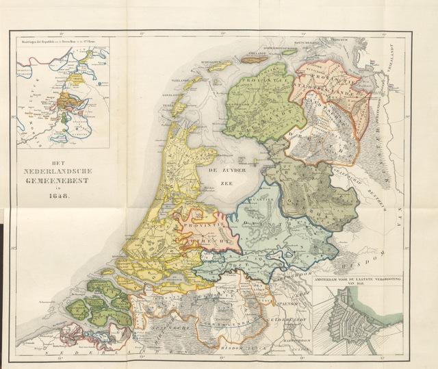 """map from """"Algemeene geschiedenis der Vaderlands, van de vroegste tijden tot op heden. (dl. 3. stuk 2. Voortgezet door Mr. O. van Rees. dl. 3. stuk 3-5. Voortgezet door Mr. O. van Rees en Dr. W. G. Brill. dl. 4, 5. Voortgezet door Dr. J. van Vloten.) dl. 1-dl. 5. stuk 1"""""""