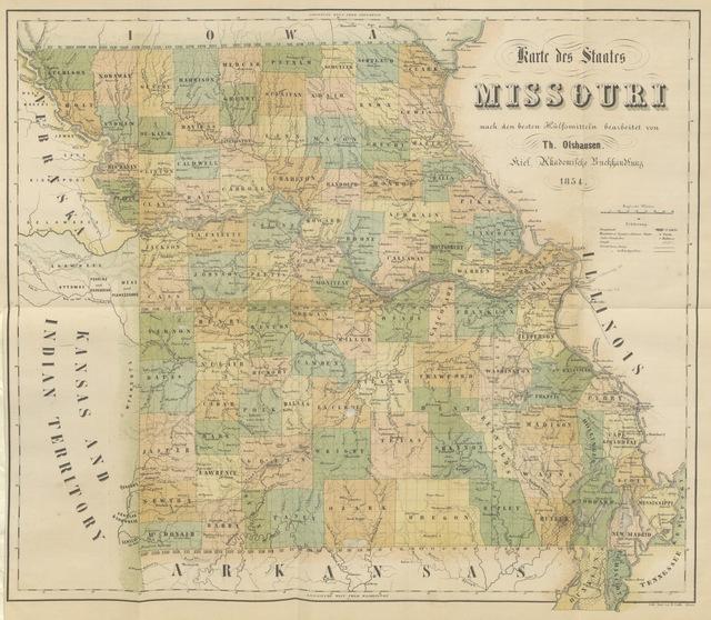 """map from """"Die Vereinigten Staaten von Amerika geographisch und statistisch beschrieben. 3 pt. (Das Mississippi-Thal und die Eingelnen Staaten des Mississippi-Thals. Bde. 1, 2.)"""""""