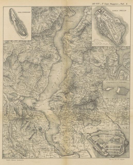 """map from """"Il Lago Maggiore, Stresa, e le isole Borromee. Notizie storiche ... colle vite degli uomini illustri dello stesso lago"""""""