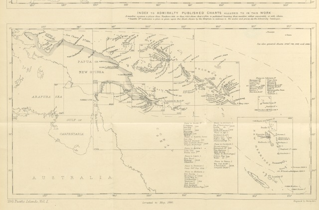 """map from """"Pacific Islands. vol. I. Western Groups. Sailing Directions, etc. (Second edition. Revised and enlarged by W. Tooker.) (Supplement, 1894.)"""""""